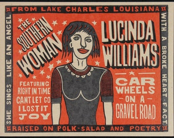 LUCINDA WILLIAMS- Car Wheels on a Gravel Road Hand Printed Woodblock Poster
