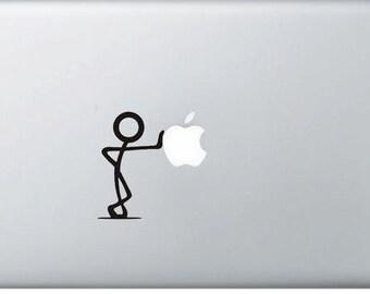 Stickman leaning on the apple vinyl macbook decal