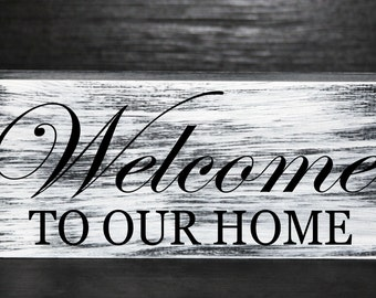 Welcome to our home primitive wood block