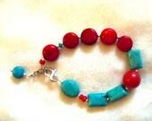 Handcrafted Healing Bracelet, Turquoise Red Corral Sterling Silver Bracelet, Reiki Bracelet,  Chakra Bracelet