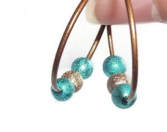 Copper and Turquoise Stardust Basketball Wives Earrings, 28mm, Statement Jewelry,