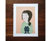 Reserved for Alana///Girl with cat / 5x7 print on fine art paper