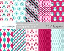owls digital paper pack scrapbooking girl personal and commercial use - pink and teal owls scrapbook paper - INSTANT DOWNLOAD
