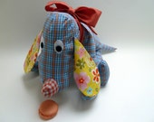 Funny fabric toy dog, child safe, baby shower gift, soft & cuddly, 100% cotton. All kids love him. One of a kind.