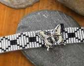 Bead Weaved Necklace Choker, Black & White Geometric Pattern, with Butterfly