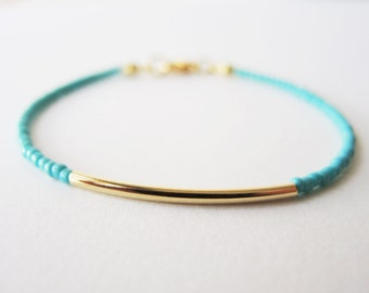 Gold bar bracelet - friendship bracelet - turquoise beaded bracelet