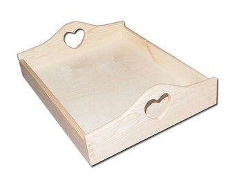 Wooden Serving Tray with heart shaped handles - Unapinted wooden breakfast serving tray