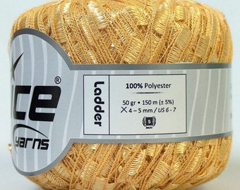 Yarn, trellis ICE LADDER yarn, yellow summer spring, 1 skein 50 gr, craft, accessories