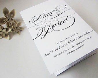 PRINTABLE Tri-fold Wedding Program - Calligraphy