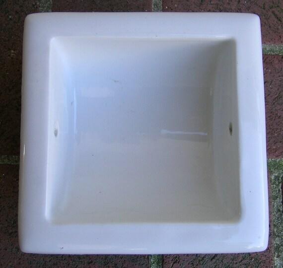 Vintage Recessed Toilet Paper Holder White Porcelain Ceramic
