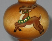 Reindeer Christmas Ornament, Hand Painted Wooden Ornament