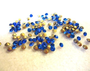 Vintage Glass Vibrant Sapphire Blue colour Stone 3mm Round pointed back foiled rhinestone chatons-6 grams approx 120 pieces