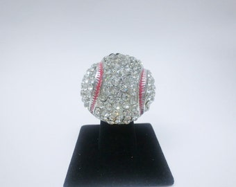 Big baseball ring with clear stone,stretch,one size