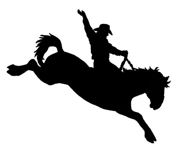 Bronc Riding Drawings Bronc Riding Decal Sticker