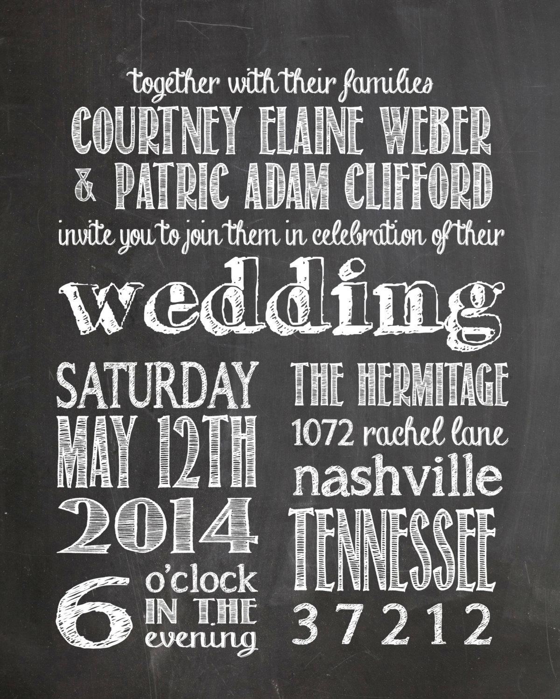 Diy Chalkboard Wedding Invitations: Chalkboard Wedding Invitation DIY Printable