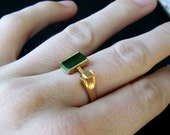 "RESERVED FOR JESS // Thin Gold Plated Vintage Ring with Rectangular Green ""Gem"""
