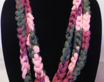 Chunky Crochet Chain Scarf/Necklace in Sparkly Varigated Pink and Gray