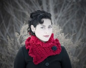 """Hand Crocheted Valentines day & Christmas """"Cranberry Red"""" Neck Ruffle 20/80 Lambs Wool, Acrylic Blend. With custom choice fashion button!"""