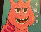 Sea Monkeys Sketch card FREE SHIPPING