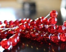 80 approx. red 10 mm crackle glass beads, 1.5 mm hole, round