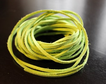 5yds faux suede cord, spring green, about 3mm wide