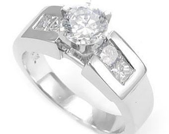 Princess Cut Diamonds, Channel Set, 14K White Gold, CZ Engagement Ring, Bridal Ring