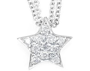 Star Diamond Pendant, 14K White Gold Ladies Pendant, Ladies Fine Jewelry