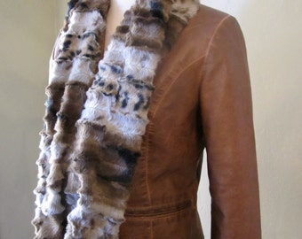 Brown, Black and Silvery Gray Faux Fur Infinity Scarf