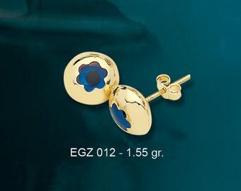 14K Solid Gold Evil Eye Good Luck Flower Earrings EGZ012