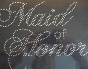Maid Of Honor  Rhinestone Iron On Transfer                             I5MS