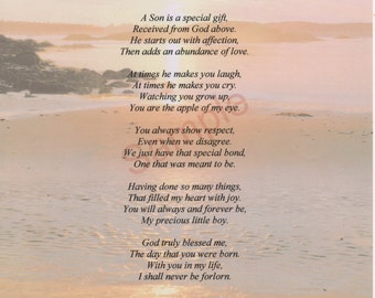 "Five Stanza ""What Is A Son"" Poem shown on ""Shoreline"" Background"