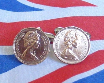 Boxed Pair Vintage British 1976 Half Pence Penny Coin Cufflinks Wedding 41st Birthday Anniversary