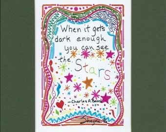 """Matted Art Print  -  Doodle Quote """"See the Stars"""""""