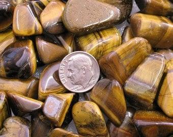 12 Golden Tigereye Tumble Polished Stones - Item 41904