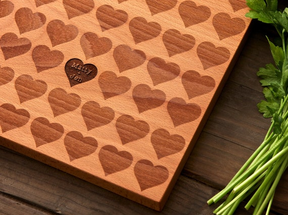 Personalized Carved Heart Engraved Wood Cutting Board - 12x16 - custom hostess gift wedding or anniversary gift for foodie couple