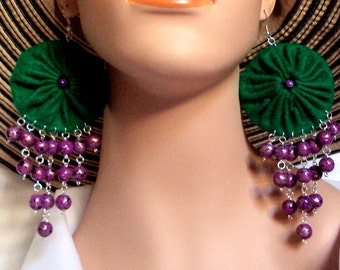 Large long and lightweight green and purple beaded bauble statement felt yoyo earrings accessories and jewellery
