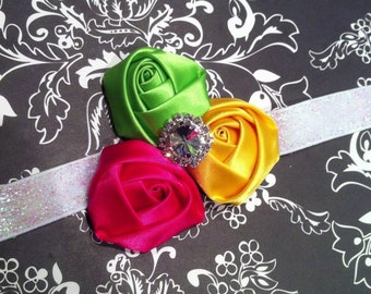 Colorful Satin Rolled Rosette Trio Headband-Sparkly Rhinestone Center-Iridescent Glitter Elastic-Baby Girl Headband