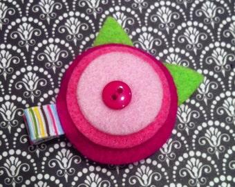 Pink Layered Flower Hair Clip-Button Center-Striped Hair Clip-lined alligator clip-no slip