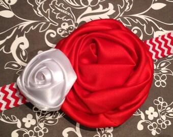 Red Chevron Baby Headband - Red, White Satin Rosette - Flower Headband - Rosette Headband