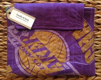 Quilted iPad sleeve - Recycled Lakers T-shirt