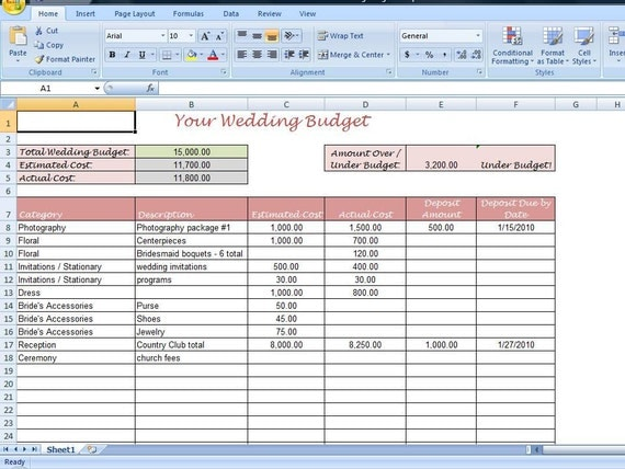 Simple Wedding Budget Worksheet Printable By