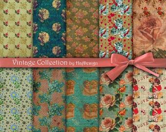 """Vintage digital paper : """"Vintage Collection"""" vintage digital backgrounds, digital collage sheets for scrapbooking, cards, decoupage"""
