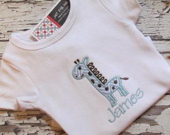 Baby Girls or Boys Personalized Chevron Giraffe Applique Bodysuit or Bodysuit FREE MONOGRAM