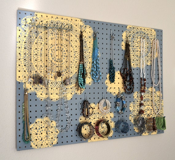 Items similar to Painted Jewelry Organizer Wall Display Jewelry