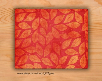 Mousepad Faded Red and Gold Leaves