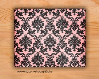 Mousepad Faded Pink & Black Damask