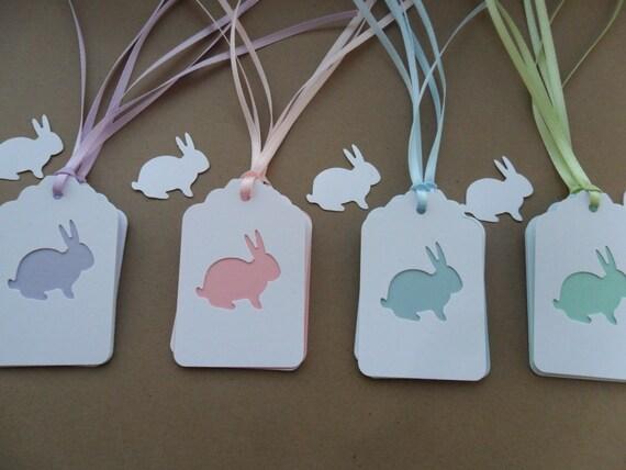 Purple Tag: 12 Bunny Gift Tags-Hang Tags-Ribbon-Layered-Light Purple-Light