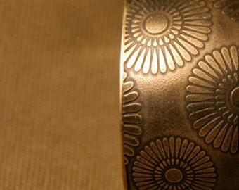 Brass bracelet with camomiles , handmade metal jewelry