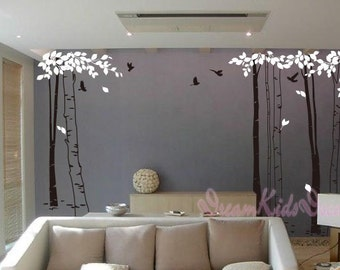 tree decal nursery wall decal baby wall decal children wall decal flying birds decal room decal-Forest in tree wall decal-DK010
