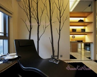 """93"""" Winter trees decals, wall decals, nature wall decals, vinyl wall decal, nature wall decal stickers, birch tree, nursery stickers-DK050"""